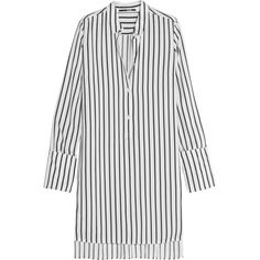 McQ Alexander McQueen Striped piqué shirt dress (540 AUD) ❤ liked on Polyvore featuring dresses, white, stripe shirt dress, white print dress, striped shirt dress, white dress and pinstripe dress