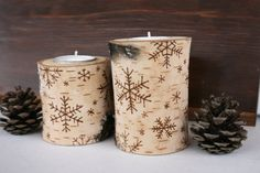 Snowflakes on Birch - Set of 2 Wooden Tealight Holders - Woodburning