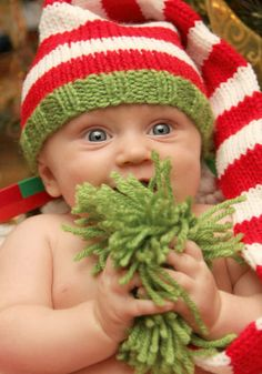 Knit Baby Hat Christmas Long Stocking Cap Elf by LittleBirdLucy