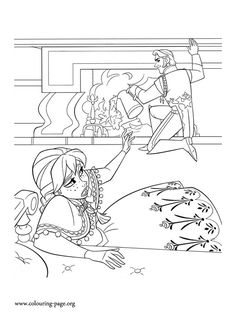 Anna Collapses Onto The Floor After Trying Reach Hans Who Is Pouring Water Fireplace What About Coloring This Beautiful Picture From Disney Frozen