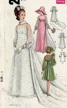 Vogue 2058 Misses 1960s Wedding Dress Pattern Bridesmaids Dresses and Bridal Gown with Train Womens Vintage Sewing Pattern Bust 31.5. $12.00, via Etsy.