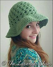 FREE - CROCHET - intermediate level ~ Lazy Daisy Floppy Sun Hat - free crochet pattern - The Lavender Chair Crochet Gratis, Crochet Cap, All Free Crochet, Crochet Beanie, Crochet Stitches, Crochet Hooks, Crochet Patterns, Double Crochet, Hat Patterns