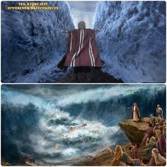 """""""Nie bójcie się, pozostańcie na miejscach i zobaczcie wybawienie od Jahwe"""" (Księga Wyjścia 14:13). """"A Jahwe powiedział do Mojżesza,… Podnieś jednak swoją laskę i wyciągnij rękę nad morze, i rozdziel je, a dzieci Izraela przejdą po suchym lądzie poprzez środek morza"""" (Księga Wyjścia 14:15-16). #kościół_boga_wszechmogącego #Ewangelia #Bóg  #JezusChrystus #PismoŚwięte #Zbawiciel Videos, Painting, History, Painting Art, Paintings, Painted Canvas, Video Clip"""