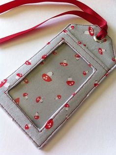 Fabric Luggage Tag Mushrooms on Grey by Pamelaquilts on Etsy, $10.00
