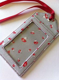 fabric luggage tags pattern | Fabric Luggage Tag Mushrooms on Grey