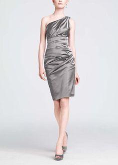 Amazon.com: One Shoulder Stretch Satin Short Bridesmaid Dress: Clothing
