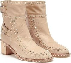 Rosie Huntington-Whiteley wearing Laurence Dacade Badley Studded Leather Ankle Boots.