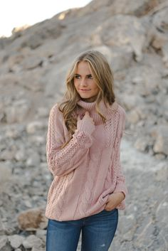 THE CABLE KNIT SWEATER IN MAUVE