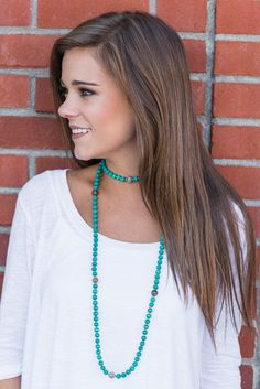 """Long Beaded Wrap Around Necklace - Turquoise""You will be so blissful in this beaded necklace! The turquoise is wonderfully complimented by those sporadic gray beads! Whether you wrap this necklace or knot it, you will be so happy you have it! #newarrivals #shopthemint"