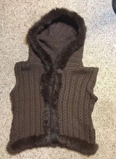 LIZ CLAIBORNE Brown Hand Knit Rabbit Fur VEST Size M/L HOODED #LizClaiborne
