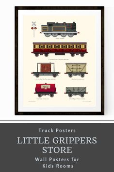 Choose a favourite vehicle, from a selection of transportation prints to decorate a truck loving kids room. Loved by older kids as well as young these hand-designed prints are the perfect addition to any nursery or toddlers room. #Train #poster #traindecor #vintagedecor #kidswallart #littleboysroom #toddlerdecor Toddler Room Decor, Boys Room Decor, Playroom Decor, Kids Decor, Kids Room, Nursery Prints, Nursery Wall Art, Wall Prints, Car Wall Art