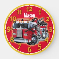 Fire Engine Truck Personalizable Children's Clock  firefighter girl, firefighter thanksgiving, firefighter tattoo female #deplomentgifts #fireservice #firedepartment, 4th of july party