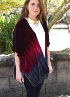 Velvet Kimono in cranberry & charcoal| ExVoto Vintage