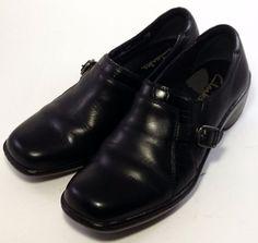 CLARKS Women's Shoes ~ Black Leather Buckle Slide On Oxfords Sport Sole ~ 5.5 M #Clarks #Oxfords