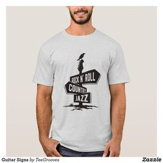 Shop Guitar Signs T-Shirt created by TeeGrooves. Cheap Fashion, Rock N Roll, Shop Now, Fitness Models, Guitar, Signs, Casual, Sleeves, Mens Tops