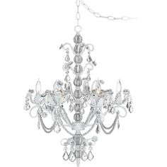 Crystal Scroll White And Pink 16 Wide Swag Chandelier P5788