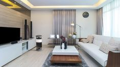 Current elements in composition for the modern living room, among them, the lowered plaster ceiling, the laminate floor and the planned furniture. Modern White Living Room, Cozy Living Rooms, Modern Room, Living Room Interior, Modern Decor, Luxury Interior, Interior Design, Home Decor Trends, Grey Walls