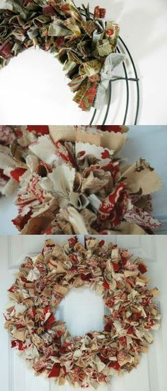 Fabric wreath, Christmas ornaments / Corona de tela, Adornos navideños                                                                                                                                                                                 Más