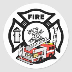 Red Fire Truck Classic Round Sticker  firefighter babies, firefighter care package, firefighters gifts #firemedic #culvercityfiredepartment #culvercityfire, 4th of july party