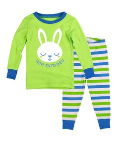 Love this Key Lime & Blue 'Hop' Pajama Set - Infant, Toddler & Boys on #zulily! #zulilyfinds