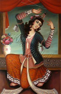 Buy original art from Iranian artists Persian Motifs, Persian Pattern, Persian Princess, Middle Eastern Art, Arabian Art, Persian Culture, Iran, My Art Studio, Abstract Canvas Art