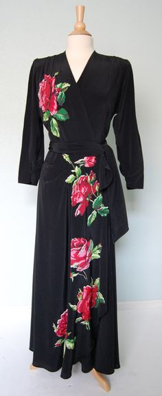 1940s Crepe Gown with Appliques by KittyGirlVintage on Etsy