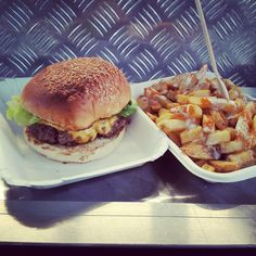 cheeseburger and 'angry' fries with blue cheese and chilli sauce (Bleecker St Burger food truck, London, UK).