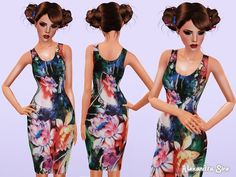 Indulgence Floral Fitted Dress by Alexandra_Sine - Sims 3 Downloads CC Caboodle