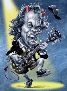Angus Young, AC/DC caricature design by Bon Scott, Hard Rock, Angus Young, Rock Posters, Band Posters, Music Artwork, Art Music, Ac Dc, Rock And Roll History