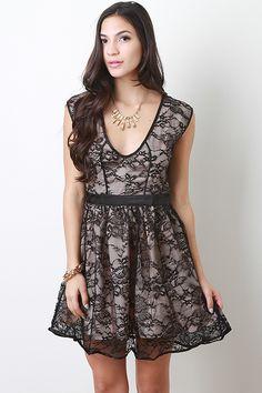 Semi Mesh Floral Dress