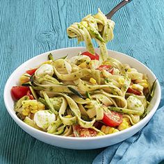 Pasta with Tomatoes, Zucchini, and Pesto Recipe - Woman's Day