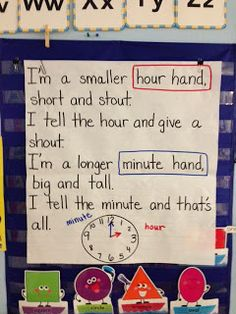Anchor chart for telling time ~ Sung to I'm a Little Teapot. Where was this when I was teaching time! Teaching Time, Student Teaching, Teaching Ideas, Student Work, Teaching Tools, Math Resources, Math Activities, Math Measurement, Measurement Activities