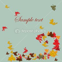 Autumn falling leaves background  by lindwa - Stock Vector