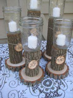 Rustic Wedding Centerpieces Mason Jars | Rustic Wedding Decor Mason Jars Log Candle Holders. ... | Wedding Ide ...