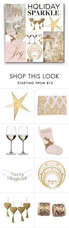 """""""Holiday Sparkle"""" by melody-renfro-goldsberry ❤ liked on Polyvore featuring interior, interiors, interior design, home, home decor, interior decorating, Cultural Intrigue, Juliska, Riedel and Meri Meri"""