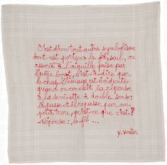 Mouchoir Citation Fanny Viollet Textiles, Sewing Studio, Clothes Crafts, Darning, Do Love, Mark Making, Embroidery Art, Pattern Making, Textile Art