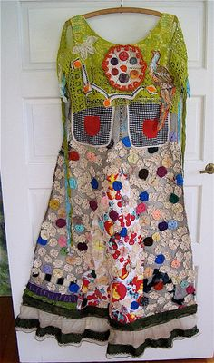 Antique Yo Yo Vintage Tablecloth Upcycled Wearable Art COLLAGE  Duster Maxi APRON Dress  mybonny my bonny