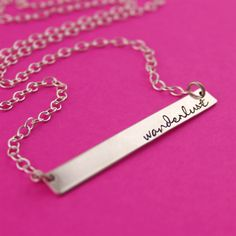 Sterling Silver Personalized Bar Necklace - Spiffing Jewelry