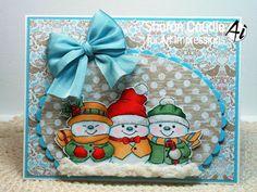 Art Impressions Rubber Stamps: Holly Jolly Set (Sku 4667) ...handmade card. Snowmen, snow, winter, bow