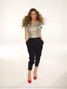 Glitter top, Black cargo pants red pumps worn by Sarah Jessica Parker