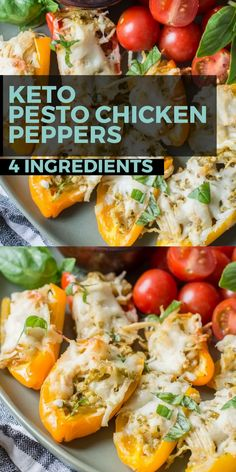 Keto Pesto Chicken Stuffed Sweet Peppers, a simple FOUR ingredient dinner that is healthy and gluten free! Under 6 net carbs per serving! dinner no cheese Keto Pesto Chicken Stuffed Sweet Peppers Ketogenic Diet Meal Plan, Diet Meal Plans, Ketogenic Recipes, Diet Recipes, Chicken Recipes, Dessert Recipes, Diet Desserts, Broccoli Recipes, Health Recipes