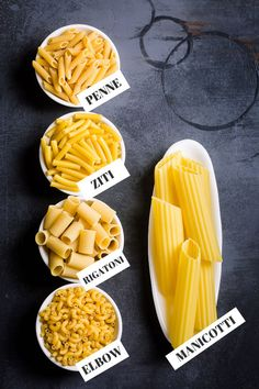 Pasta Pasta Varieties and the Best Way to Use Them - Pasta comes in all types of shapes and sizes, but did you know each shape serves a purpose? Learn more about the different varities of pasta and when you should use them. Pasta Recipes, Cooking Recipes, Pasta Types, Food Vocabulary, Small Pasta, Food Names, Cold Meals, How To Cook Pasta, Indian Food Recipes