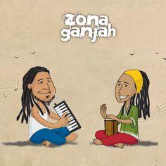 Ilustración de personajes para la banda de música Zona Ganjah