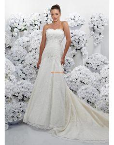 Traîne mi-longue Col en cœur Perle Robes de mariée 2014