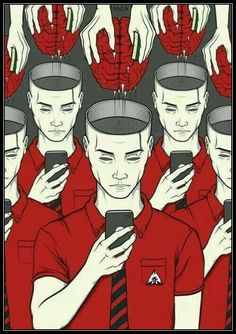 Illustrations That Take a Tongue-in-cheek Look at Technology Addiction in Today's Society pics) Banksy, Satire, Technology Addiction, Pop Art, Illustrator, Satirical Illustrations, Satirical Cartoons, Psychedelic Art, Image Shows