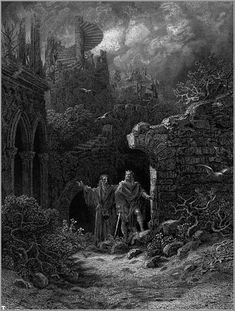 """Merlin and King ArthurIllustration of Lord Alfred Tennyson's """"Idylls of the King"""""""