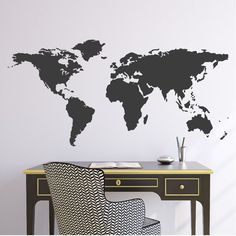 Wall Decal 44W World Map Wall Vinyl Decal Sticker by Zapoart, $29.00