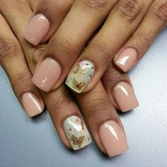 Nude nails, golden butterfly