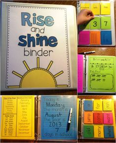 rise and shine morning binder, morning work, morning ideas, morning binder, number of the day, calendar