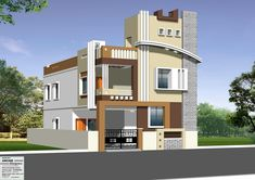 Independent House Front Inspirations And Attractive Elevations Of Houses Pictures - Nugadesigns 2 Storey House Design, Duplex House Plans, Bungalow House Design, Modern House Plans, Modern House Design, House Front Wall Design, Single Floor House Design, Village House Design, Building Elevation